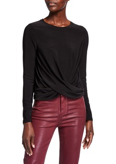 Neiman Marcus Twisted-Front Long-Sleeve Pullover