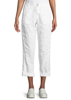 Neiman Marcus Two-Button Lace-Inset Linen Cargo Pants