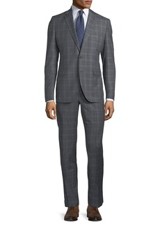 Neiman Marcus Two-Piece Windowpane Wool Suit