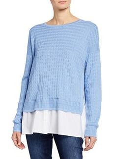 Neiman Marcus Twofer Sweater & Shirting Pullover