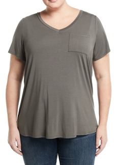 Neiman Marcus V-Neck Short-Sleeve Pocket Tee  Plus Size