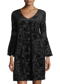 Neiman Marcus Velvet-Burnout Bell-Sleeve Dress