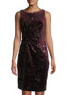 Neiman Marcus Velvet Sequin Ruched Cocktail Dress