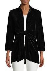 Neiman Marcus Velvet Tie-Front Blouse  Plus Size