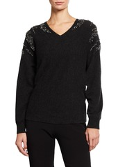 Neiman Marcus Waterfall Embellished Dolman Cashmere Sweater