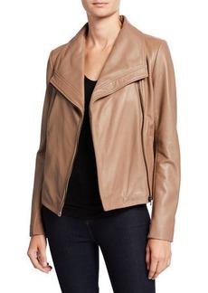 Neiman Marcus Wide-Collar Zip-Front Leather Jacket