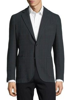 Neiman Marcus Windowpane Check Two-Button Sport Jacket