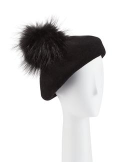 Neiman Marcus Wool Beret w/ Fox Fur Pompom