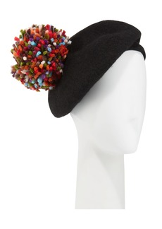 Neiman Marcus Wool Beret w/ Multicolor Pompom