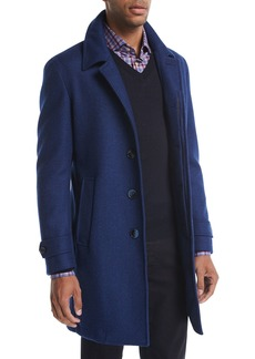 Neiman Marcus Wool Single-Breasted Top Coat