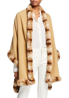 Neiman Marcus Wool Wrap w/ Faux Fur Trim