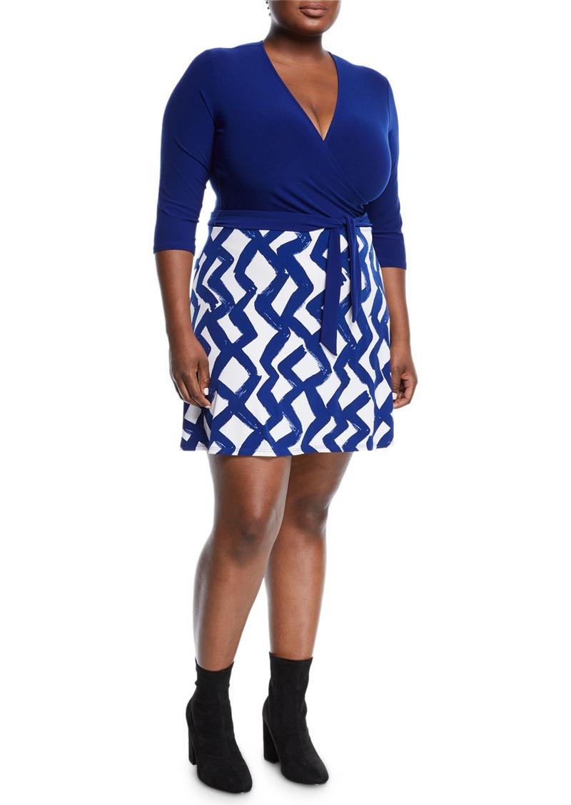 Zigzag Print Wrapped Mini Combo Dress Plus Size