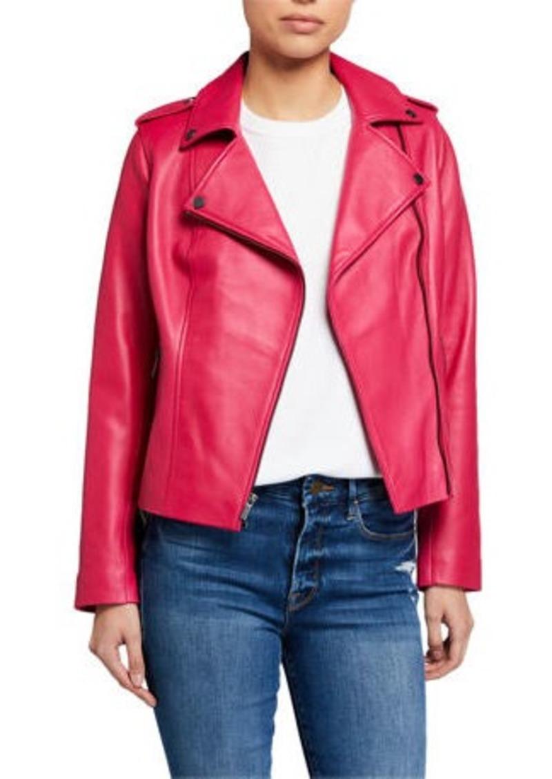 Neiman Marcus Zip-Front Leather Moto Jacket