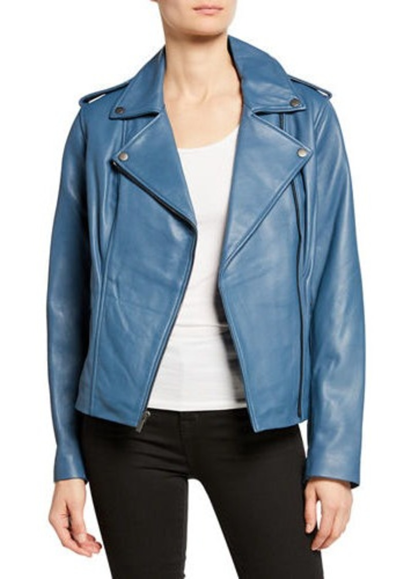 f0f35fdf6 Zip-Front Leather Moto Jacket