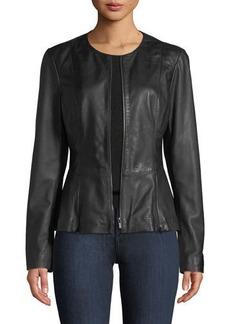 Neiman Marcus Zip-Front Leather Peplum Jacket