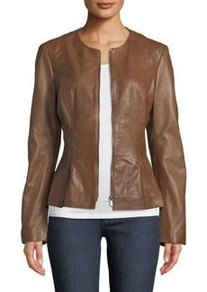 Neiman Marcus Zip-Front Leather Peplum Jacket