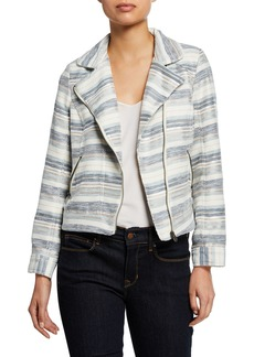 Neiman Marcus Zip-Front Long-Sleeve Striped Boucle Moto Jacket