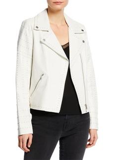 Neiman Marcus Zip-Front Studded Lamb Leather Moto Jacket