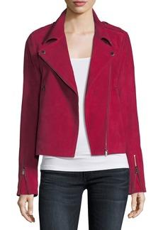 Neiman Marcus Zip-Front Suede Moto Jacket