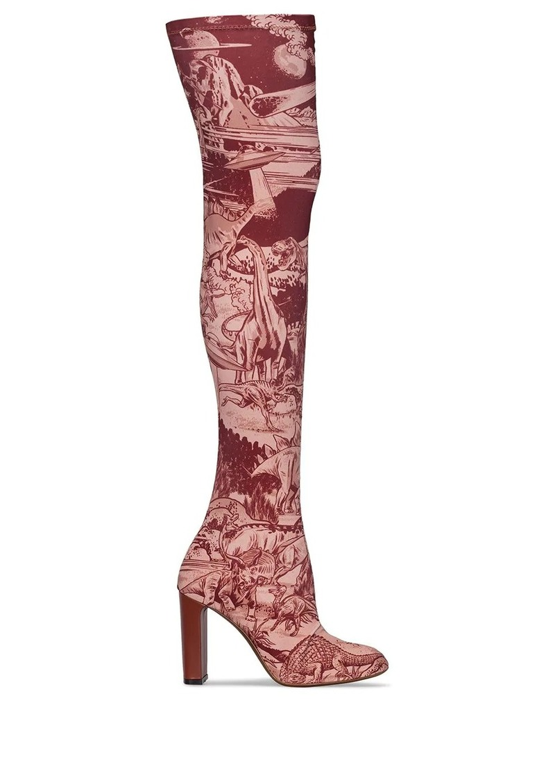 Neous space print knee-high boots