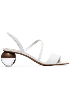 Neous white Latouria 55 round heel leather sandals