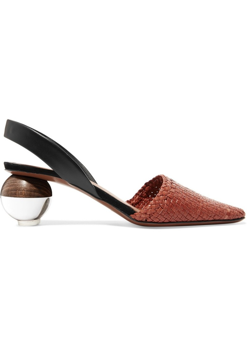 Neous Woven Leather Slingback Pumps
