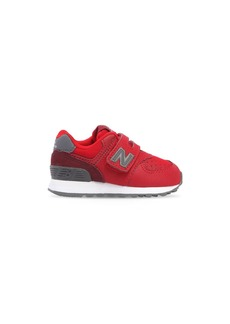 New Balance 574 Faux Leather & Mesh Strap Sneakers