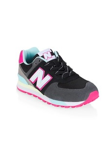 Little Girl's & Girl's New Balance 574 Suede Mix Media Low-Top Sneakers