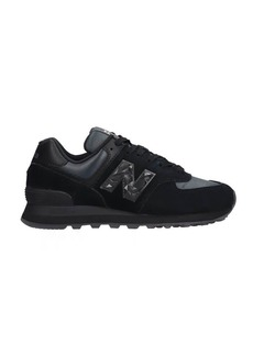 New Balance 574 Sneakers In Black Suede And Fabric