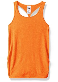 New Balance Girls' Big Athletic Tank Top Orange/Pink Cross dye