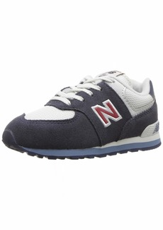 New Balance Boys' 574v1 Essential Sneaker Navy/red 6 W US Little Kid