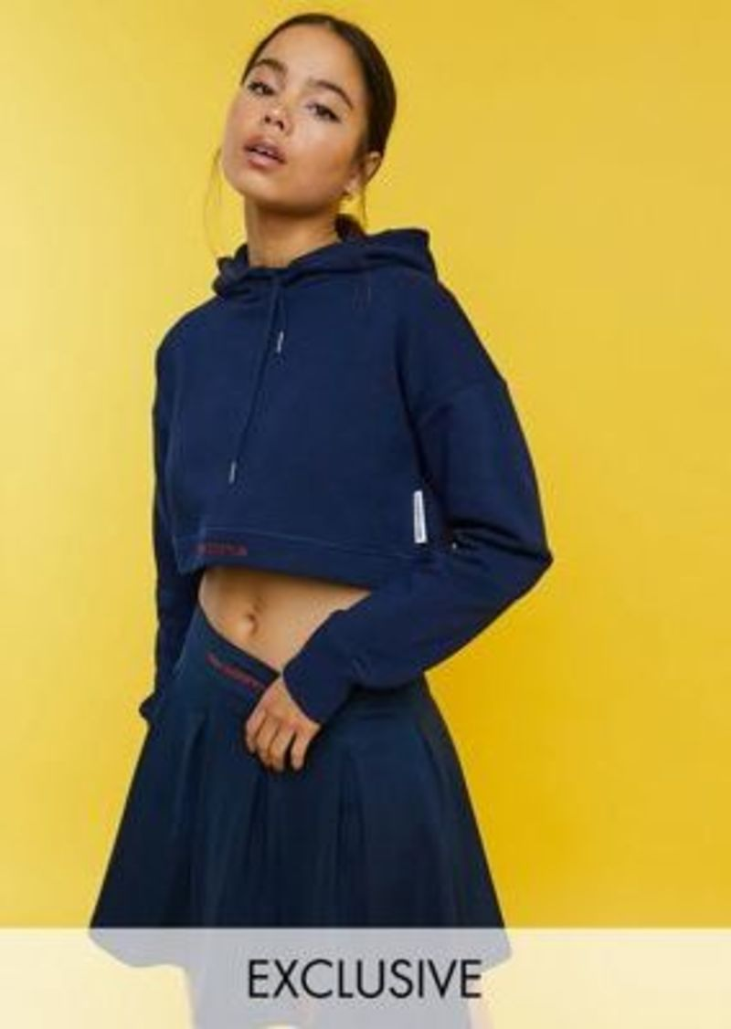 New Balance cropped logo hoodie in navy - exclusive to ASOS
