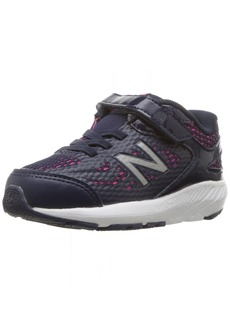 New Balance Girls' 519v1 Hook and Loop Running Shoe Pigment/Pink glo