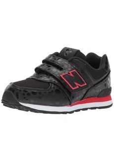 New Balance Girls' 574v1 Disney Hook and Loop Sneaker Black/red