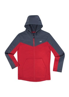 New Balance Kids Boys' Big Athletic Full Zip Hooded Jacket Thunder/Team red