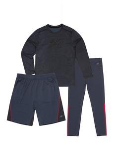 New Balance Little Boys' Long Sleeve Tee Short and Tight Set