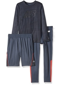 New Balance Little Boys' Long Sleeve Tee Short and Tight Set