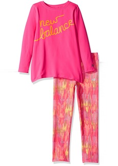 New Balance Little Girls' Long Sleeve Top and Print Tight Set