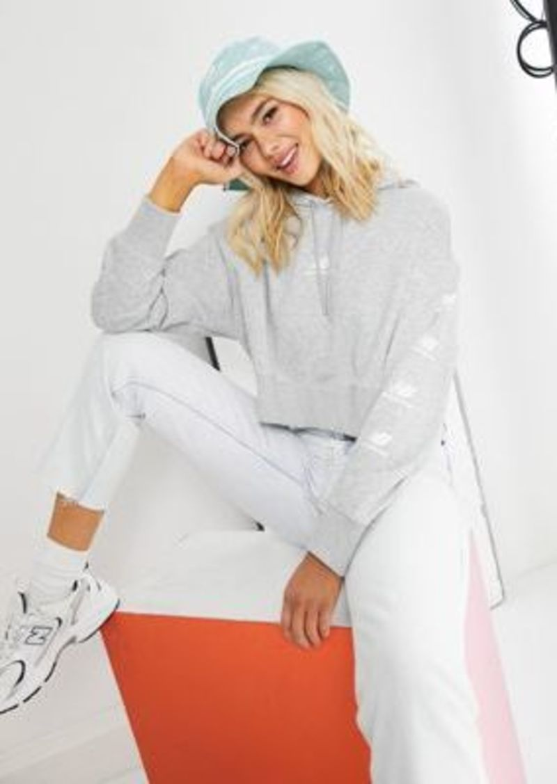 New Balance stacked logo cropped hoodie in gray
