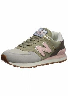 New Balance Women's 574v2 Sneaker Cliff Grey/Light Gold 8 B US