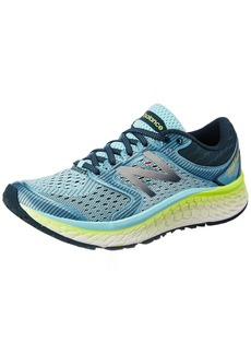 New Balance Women's Fresh Foam 1080v7 Running Shoe Ozone Blue Lime Glow  B US