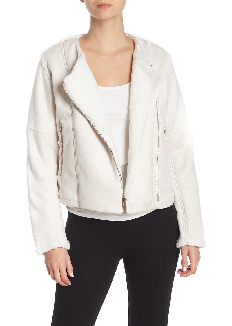 New Balance Revitalize Faux Suede & Faux Shearling Moto Jacket