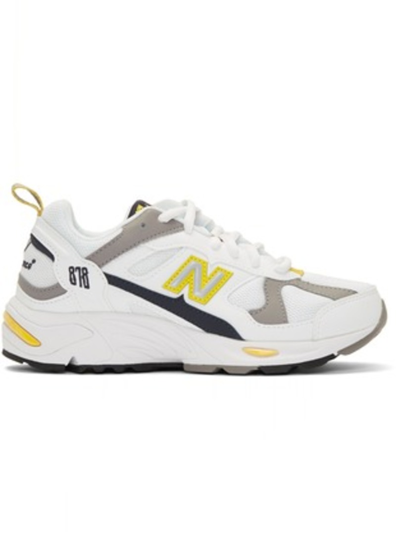 New Balance White & Yellow 878 Sneakers