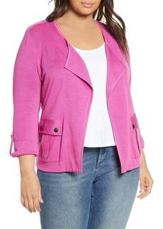 NIC + ZOE NIC+ZOE In Flight Linen Blend Knit Jacket (Plus Size)