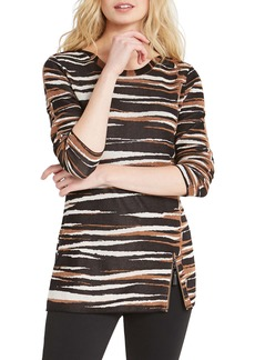NIC + ZOE NIC+ZOE Mighty Zip Tiger Stripe Cotton Blend Sweater (Regular & Petite)