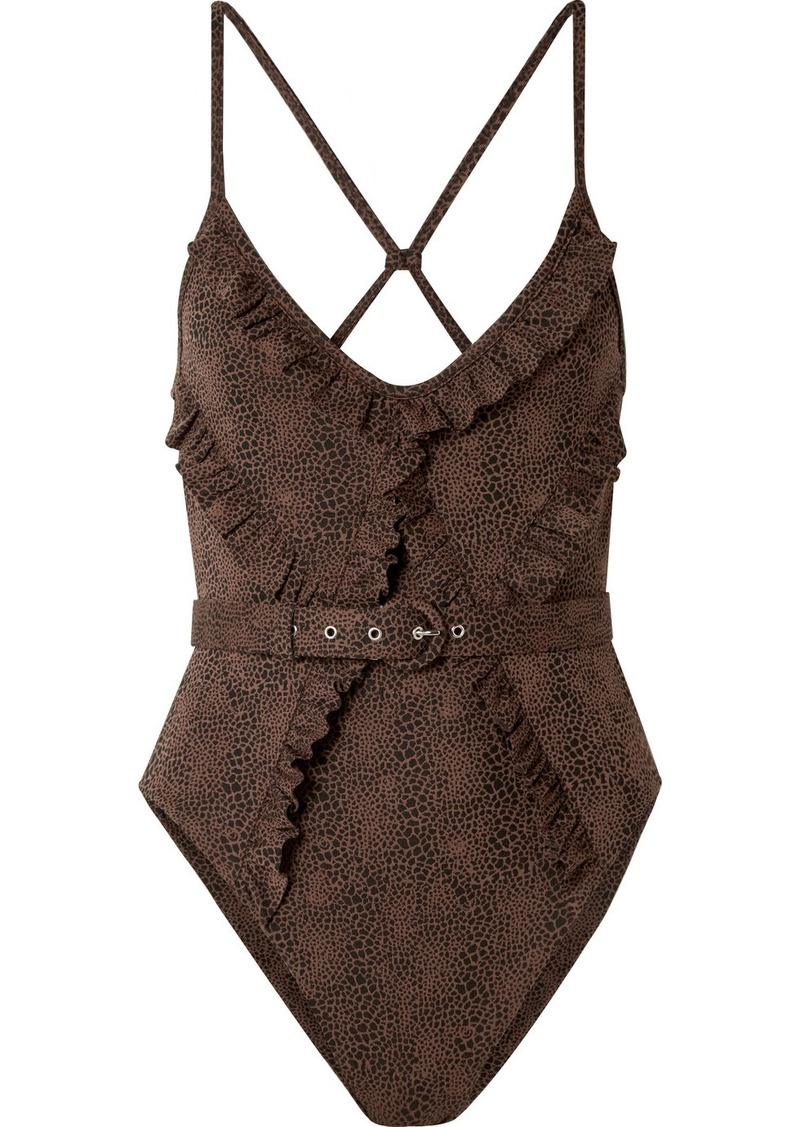 NICHOLAS Belted Ruffled Snake-print Swimsuit