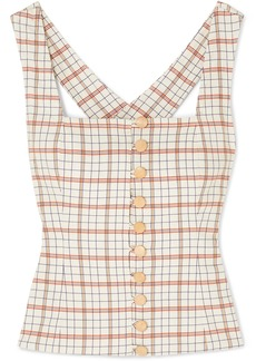 NICHOLAS Button-detailed Checked Tencel-blend Top