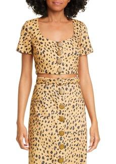 NICHOLAS Cheetah Print Linen Crop Top