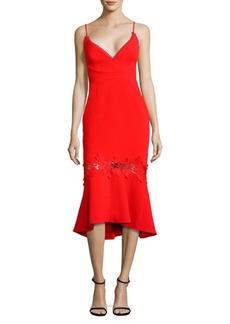 NICHOLAS Crepe Lace Appliqué Midi Dress