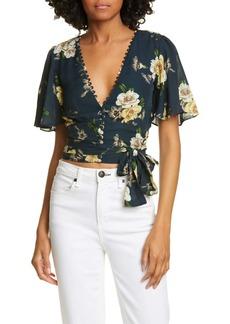 NICHOLAS Floral Print Tie Hem Sheer Silk Blouse
